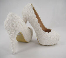 Handmade Ivory Beaded Lace Bridal Shoes Pearl High Heel Wedding Shoes UK3-8