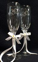 Bride and Groom Entwined Heart  Wedding toasting glasses favor gift Calla LILY