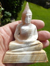 LARGE NATURAL RARE PETRIFIED WOOD BUDDHA CARVING from  MYANMAR (BURMA) 751 CTS.