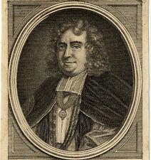 Portrait de Gilbert Burnet Salisbury Jarretière Gravure originale 18e siècle