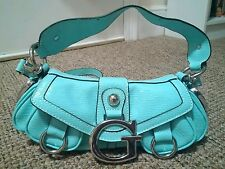 Guess Turquoise Light Blue Patent Leather Handbag