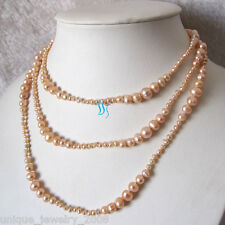 """50"""" 3-8mm Peach Pink Graduated Freshwater Pearl Necklace Strands"""