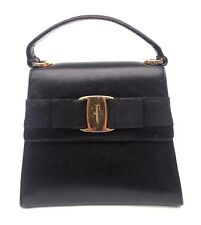 SALVATORE FERRAGAMO VARA BLACK LEATHER TOP HANDLE HANDBAG