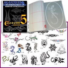 SET 5 BOOK 30 Lg Reusable Airbrush Temporary Tattoo Stencil Art Designs Template