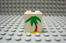 LEGO White Panel 1 x 2 x 2 with Palm Tree Pattern Beach Ocean 6419 6405 1791