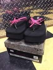 DEMONIA FLIP-07 BLACK PINK PLATFORM FLIP FLOP SANDALS BOW ACCENT US WOMENS Sz 11