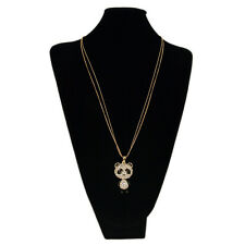 Gold Tone Cute Rhinestone Panda Pendant Long Fashion Necklace