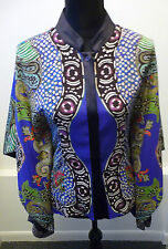 Etro NWT Black Multi Color Silk Fitted Top Blouse Sz 6 /40 Neiman Marcus $1,115.