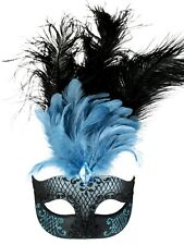 masquerade mask ladies venitian pale blue&black feathers ,blue black sparkle