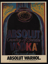 1985 ABSOLUT WARHOL Giant Vodka Bottle - Art By ANDY WARHOL - VINTAGE AD