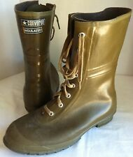 Converse Men 10 Insulated Army Green Rubber Lace-Up Boots Waterproof Vintage USA