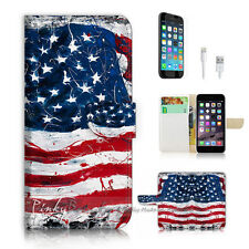 iPhone 6 6S Plus (5.5') Flip Wallet Case Cover! P2184 American Flag