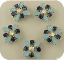 Beads X Flowers BLUE Dark Sapphire Swarovski Crystal Elements 2 Hole Sliders 5pc