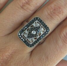 Unique .75 Carat Natural Black & White Diamond Ring Set In 10k White Gold Size 7
