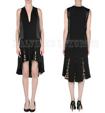 JUST CAVALLI BY ROBERTO CAVALLI DRESS V-NECK ASYMMETRIC PLEATED SKIRT IT 42 US 6