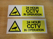 "x2  ""24hr CCTV in operation"" Decals - 150mm x 50mm security stickers"