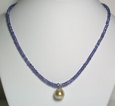 13x14mm AA + + GOLDEN South Sea Pearl, 50 di Carato Tanzanite & Collana in oro 9 CARATI
