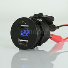 12v Motorcycle car Dual 2 USB Charger Adapter Socket  + LED Voltmeter Voltmeter