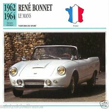 RENE BONNET LE MANS 1962 1964 CAR VOITURE FRANCE CARTE CARD FICHE