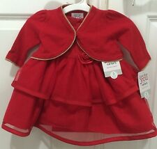 Carter's Just One You Red & Rose Flower Christmas Party Dress Cardigan 3M NWT