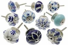 10 x Mixed Blue Shabby Chic Ceramic Cupboard Knobs Drawer Pull Kitchen (MG-203E)