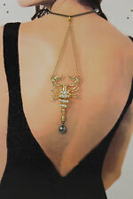 New Women Back Pendant Necklace Metal Chain Fashion Jewelry Big Gold Scorpion