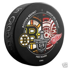 BOSTON BRUINS vs DETROIT RED WINGS 2014 Round 1 NHL DUELING LOGO PUCK