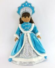 "Doll Clothes AG 18"" Dress Teal Russian Headpiece For American Girl 18 Inch Dolls"