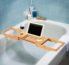 Bathtub Rack Bamboo Shelf Shower Tub Book Reading Tray Holder Stand Expanda