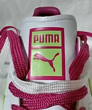 PUMA G VILAS TENNIS SHOE TRAINERS WHITE RASPBERRY RED PINK VOLT WOMENS 11 UK 8.5