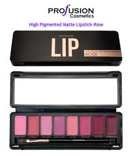 Profusion-Rose High Pigmented Matte Lipstick Palette 8 Bold colors with LipBrush