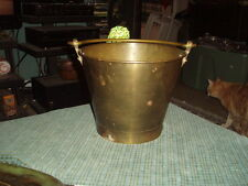"Vintage SOLID BRASS PAIL BUCKET Or Ice Bucket 8"" X 10"" Wide VG !"