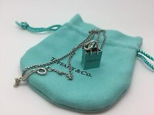 Tiffany & Co Sterling Silver Blue Enamel Shopping Bag Necklace Charm Pendant