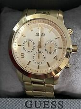 GUESS Chronograph Gold-Tone Stainless Steel Men`s Watch U15061G2 %100 AUTHENTIC