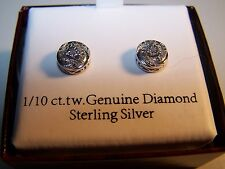 NEW WOMEN'S DESIGNER 1/10 CTTW DIAMOND ROUND  SCROLL 8 MM STERLING SILVER EARRIN