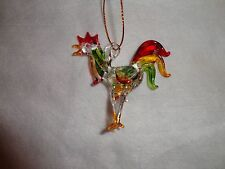 Hanging Chicken / Rooster Figurine of Blown Glass Crystal