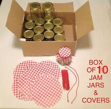 10 X  HEXAGONAL 190ml JAM CHUTNEY PRESERVE STORAGE GLASS JARS , GINGHAM COVERS