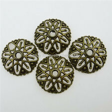 12763 25X Antique Bronze Tone Alloy Hollow Flower 20mm Spacer Bead End Bead Caps