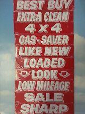 $ CAR DEALER 10 dozen NEW WINDOW ADVERTISE SLOGANS STICKERS 10K-1 red/white