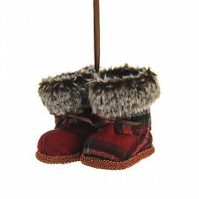 "Tartan Boots Hanging Christmas Decoration 7cm/2.75"" Tall"
