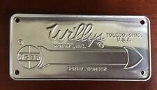 JEEP WILLYS Motors SERIAL NUMBER DATA PLATE NOT A REPRODUCTION NOS Toledo OH