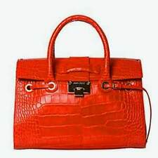Auth Jimmy Choo Rosa Rosalie Croc Embossed Leather Satchel Bag NWOT $1750 RTL