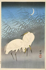 Japanese Print Reproductions: Herons in the Moonlight- Fine Art Print