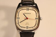 "VINTAGE RARE NICE MEN'S  USSR RUSSIA QUARTZ WATCH""CHAIKA""/NICE DIAL"