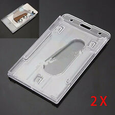 2Pcs New Vertical Hard Plastic ID Badge Holder Double Card Transparent Color Tip