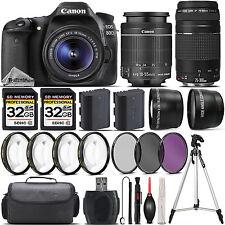Canon EOS 80D DSLR Camera + 18-55mm STM Lens + 75-300mm III Lens + 4PC Marco Kit