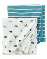 New Carter's Newborn Boy 2 Pack Cotton Swaddle Blankets NWT Happy Camper Bear