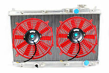 88-91 Honda Civic CRX EF HB  Full 2 Core Row Aluminum Radiator + 2x RED FANS