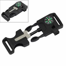 Whistle Compass Flint Fire Starter Scaper Buckle for Paracord Bracelet Hiking