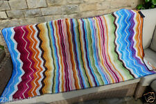 XL Missoni beach towel rainbow zigzag stripes Plush velvet throw cover-up NEW